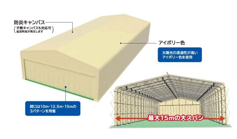 スタンダードな固定式テント倉庫
